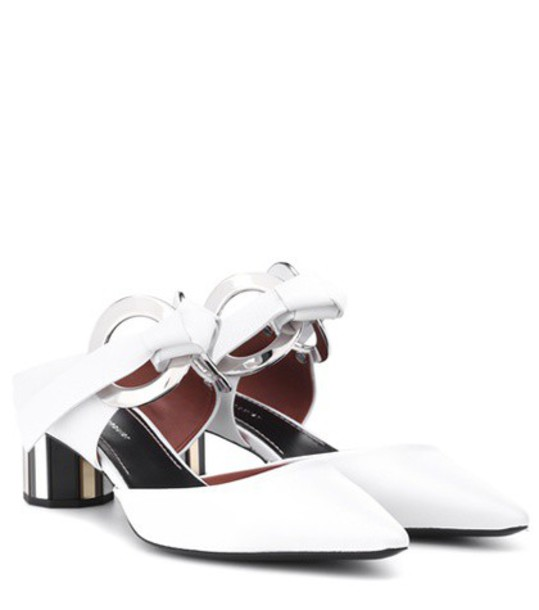 mules leather white shoes