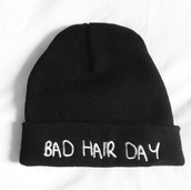 hat,beanie,black,black beanie,bad hair day hat,beenie,colthes,t-shirt,clothes,bad hair day,bad,hair,day,white,warm,warmth,quote on it,swag,yolo,hipster,funny,tumblr,badhairday,brandy melville,bonnet,blonde hair,brunette,cute,pretty,winter outfits,fall outfits,lovely,hot,cool,tumblr girl,cold,hoodie,one direction,bad hair day beanie,beenies,jacket,hair accessory