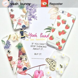 phone cover yeah bunny iphone fruits tublr strawberry tumblr