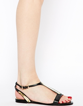 Dune | Dune Jaxx Metal Plate Flat Sandals at ASOS