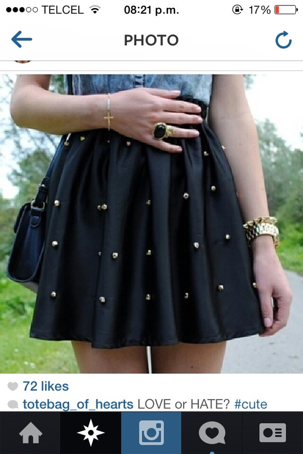 skirt black studded skirt black skirt gold studded skirt