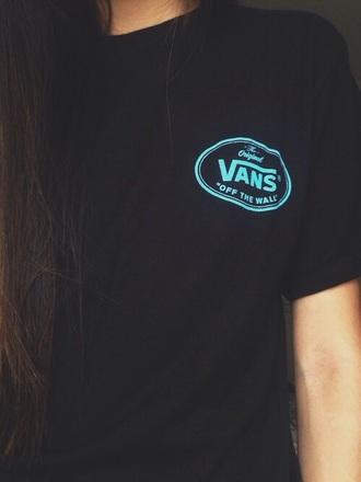 shirt black blue vans tee skateboard punk t-shirt
