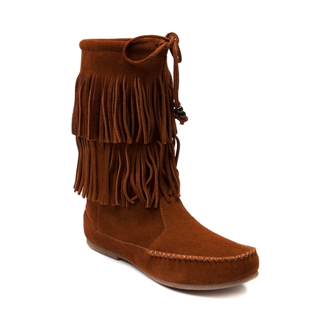 womens minnetonka delaney boot chestnut at journeys shoes