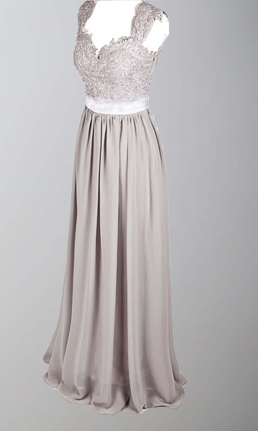 Gray Lace Cap Sleeves Long Bridesmaid Dresses KSP385 [KSP385 ...
