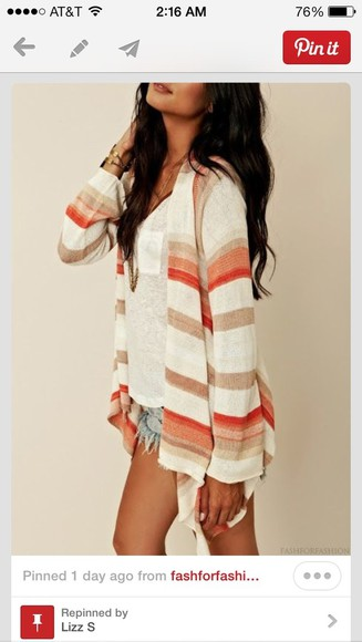 sweater cardigans hippie hippie boho gypsy bohemian boho stripes jacket cardagen, orange, red, white shirt