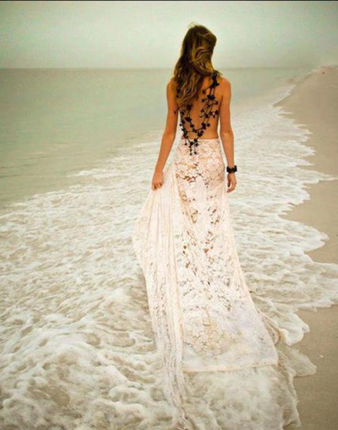 Dress: beach, crochet, lace skirt, skirt, boho wedding ...