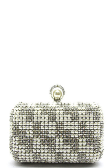gray bag pearl rhinestones