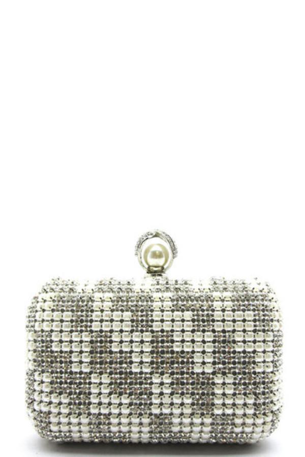 bag pearl rhinestones grey