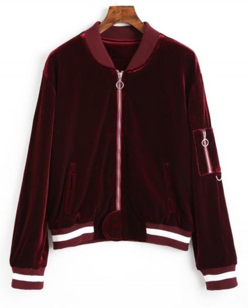 jacket girly red velvet zip zip-up zip up jacket