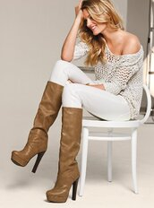 shoes,boots,platform shoes,leather,knee high