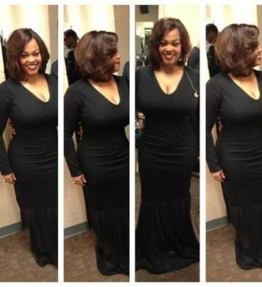 long sleeved black dress jill scott gown figure fitting maxi?