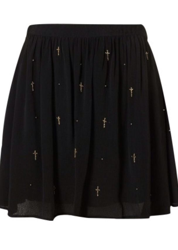 Black Topshop Beaded Cross Flippy Skirt | eBay