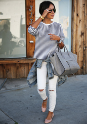 sincerely jules,blogger,striped top,grey bag,ballet flats,white jeans,bag,shoes,pants,shirt,navy,blue shirt,t-shirt,white t-shirt,blouse,casual,jeans,ripped jeans,striped sweater,girly,classy,stripes,top,denim,jacket,day outfit,pink shoes,grey,sweater,blue,white,cute,sweet,summer,chick,sexy,beautiful,fashionista,fashion,mode,summer outfits,summer top,handbag,celine bag