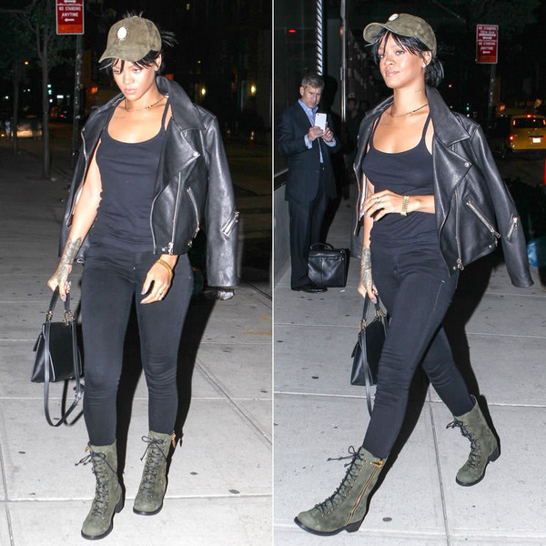 pants rihanna jacket boots fall outfits hat shoes