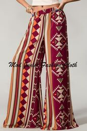 formal look,fashion week,wide-leg pants,formal pants,office look,office outfits,wine,burgundy,tribal pattern