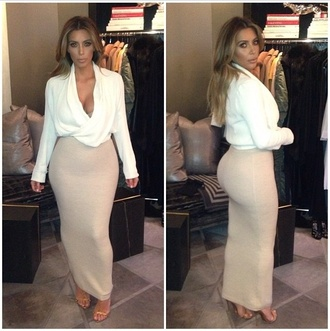 skirt kim kardashian coat shirt cowl neck long sleeve. cowl neck pencil skirt