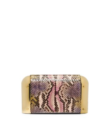 Painted python clutch