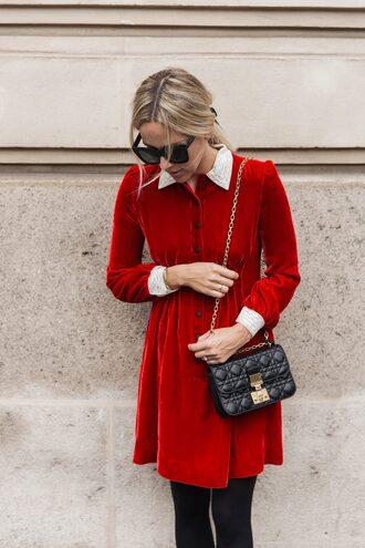 dress velvet tumblr mini dress red dress red mini dress velvet dress bag black bag sunglasses tights