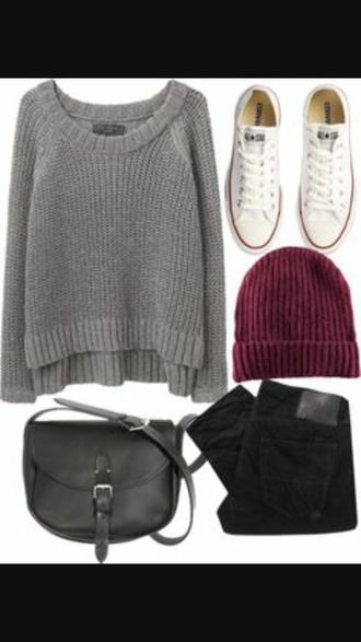 sweater grey sweater black jeans