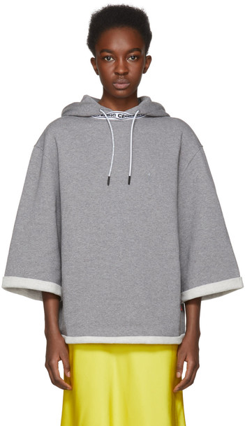 hoodie short grey sweater