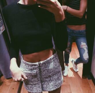 skirt zip cozy mini skirt shirt