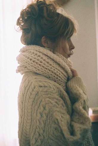 scarf cable knit sweater