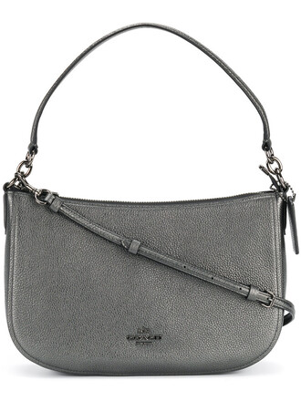 women bag crossbody bag leather grey metallic