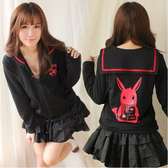 coat kawaii kawaii outfit kawaii hoodie cute bunny sailor style sailor dress black pink red hoodie jacket japanese korean fashion harajuku
