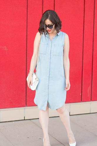 adventures in fashion blogger shirt dress sunglasses shoes bag jewels denim dress