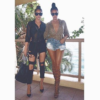blouse shorts denim shorts sunglasses gladiators knee high gladiator sandals black jeans bag