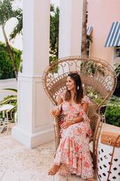 hauteofftherack,blogger,dress,shoes,bag,jewels,romper,floral maxi dress