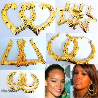 jewels swag swagger gold heart hoop earings hoops star