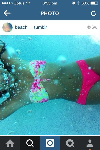 swimwear pink and yellow