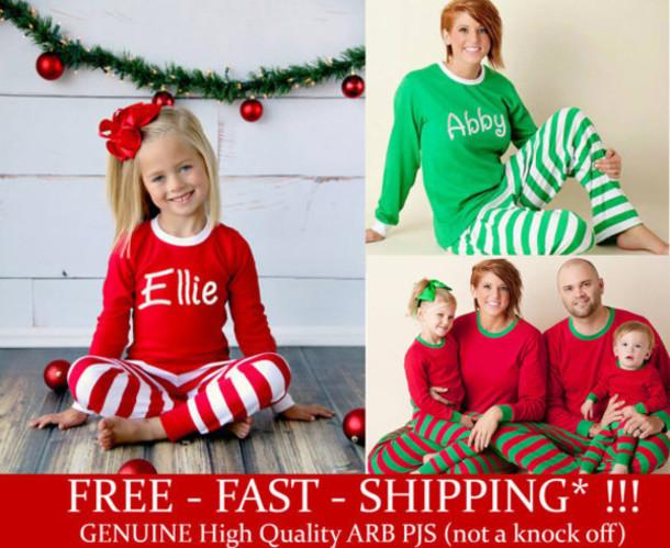 free shipping personalized christmas pajamas embroidered monogram christmas pjs red and white stripe christmas pajamas for the family - Modern Family Christmas