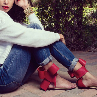 red shoes flat sandals bows