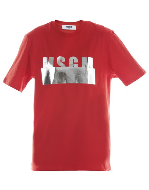 MSGM t-shirt shirt cotton t-shirt t-shirt cotton red top
