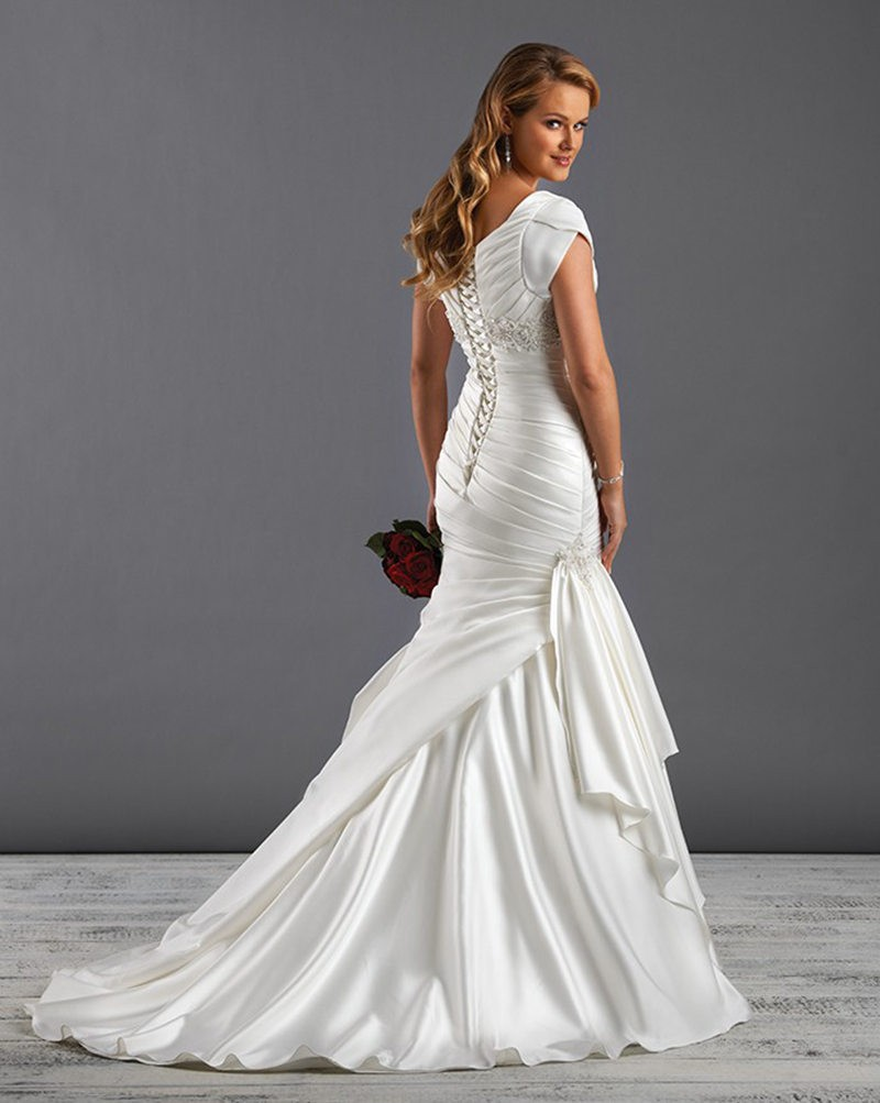 Short Sleeve Square Satin Trumpet Mermaid Wedding Dress Wbo0065