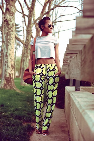 the daileigh t-shirt pants bag shoes sunglasses yellow pants yellowpants overlaptedsquares yellowblackandwhite yellow white withtiestring joggers