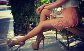 skirt peach skirt nude heels pleated skirt shoes
