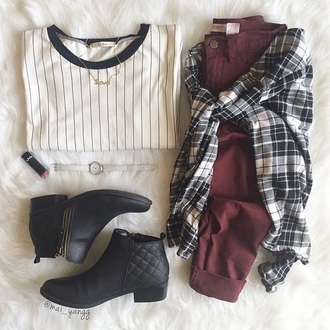 t-shirt baseball tee burgundy jeans flannel booties