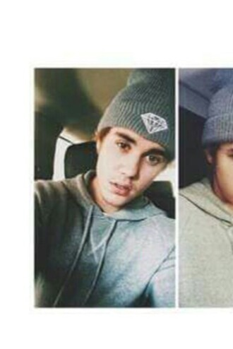 hat justin bieber beanie grey diamonds grey beanie