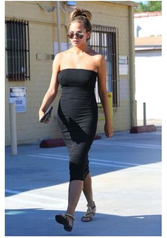 dress bodycon dress black dress strapless chrissy teigen tube dress