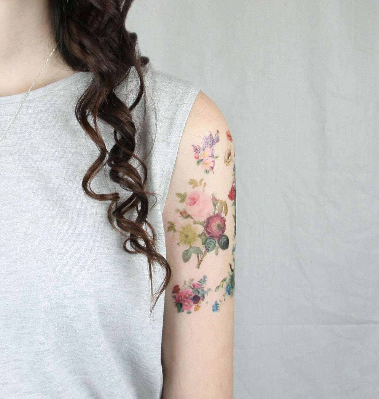 vintage flowers pack - 7 temporary tattoos - stocking stuffer