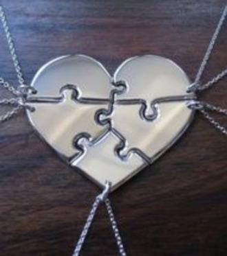 jewels necklace friends friends heart zilver puzzle