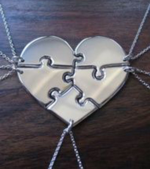 jewels necklace heart friends friends zilver puzzle