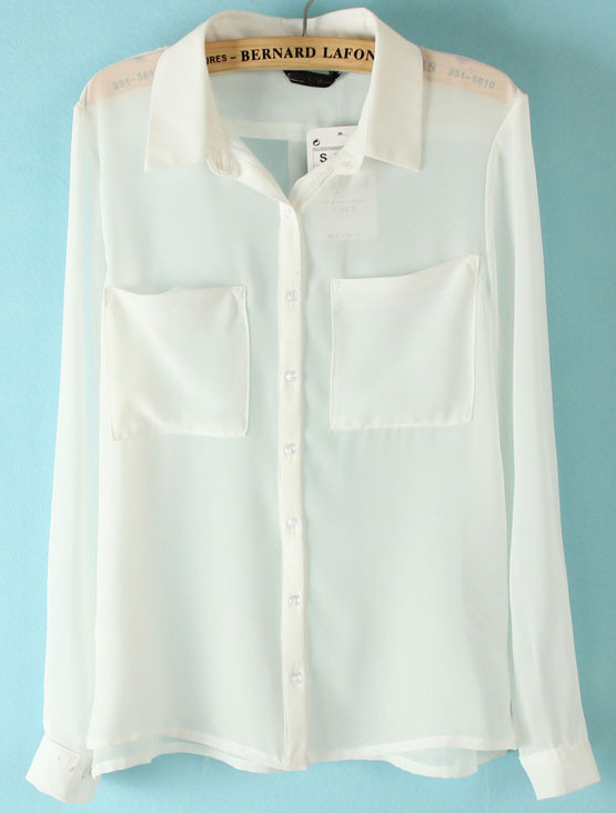 White Long Sleeve Twin Pockets Front Semi Sheer Blouse - Sheinside.com