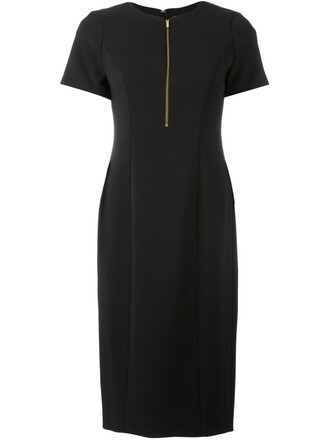 dress zip women spandex black