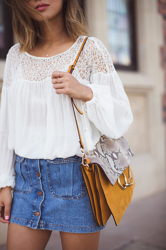 skirt mini skirt denim denim skirt white blouse button up denim skirt button up skirt spring outfits blogger buttoned skirt