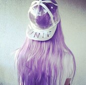 hat,snapback,transparent,unif,white,violet,purple hair,daniella,cool girl style,cap,pastel hair,plastic,hair accessory