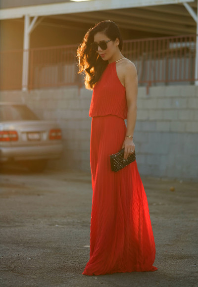 maxi dress red dress orange dress hallie daily